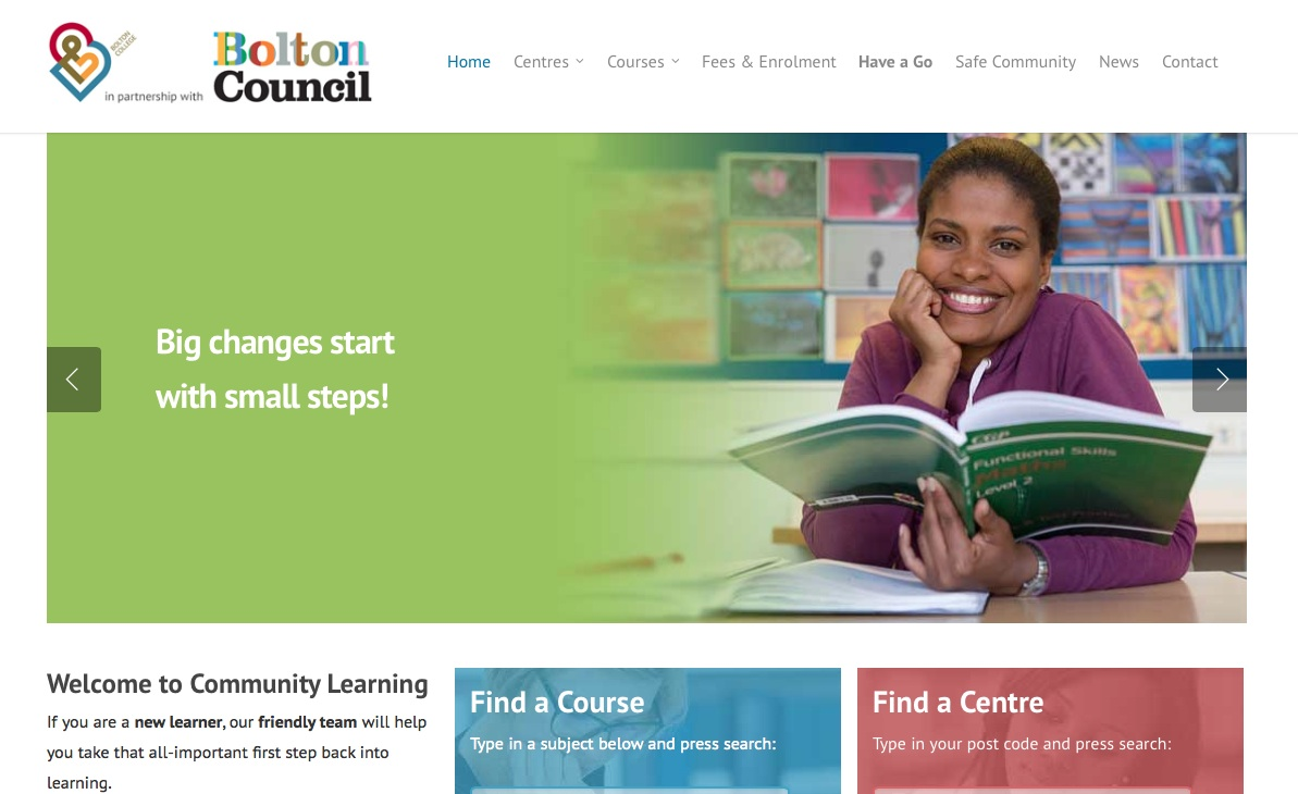 Bolton College's Community Learning Website