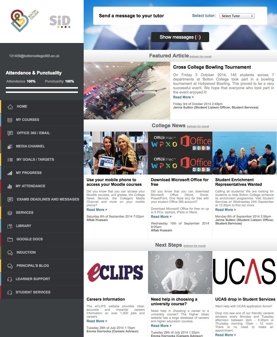 Bolton College's Student Home Page