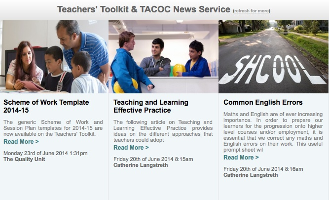 Teachers' Toolkit and Take a Chance on Change News Feed