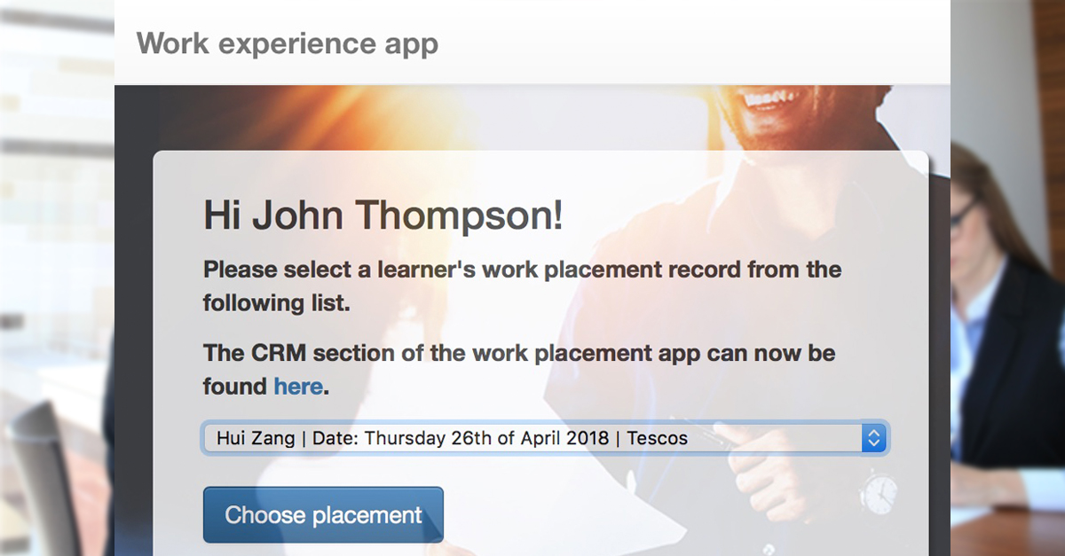 The CRM Element of Bolton College's Work Experience App